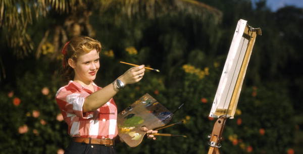 Florida Memory, Candy Tilton Ulrich painting at Sarasota Jungle Gardens