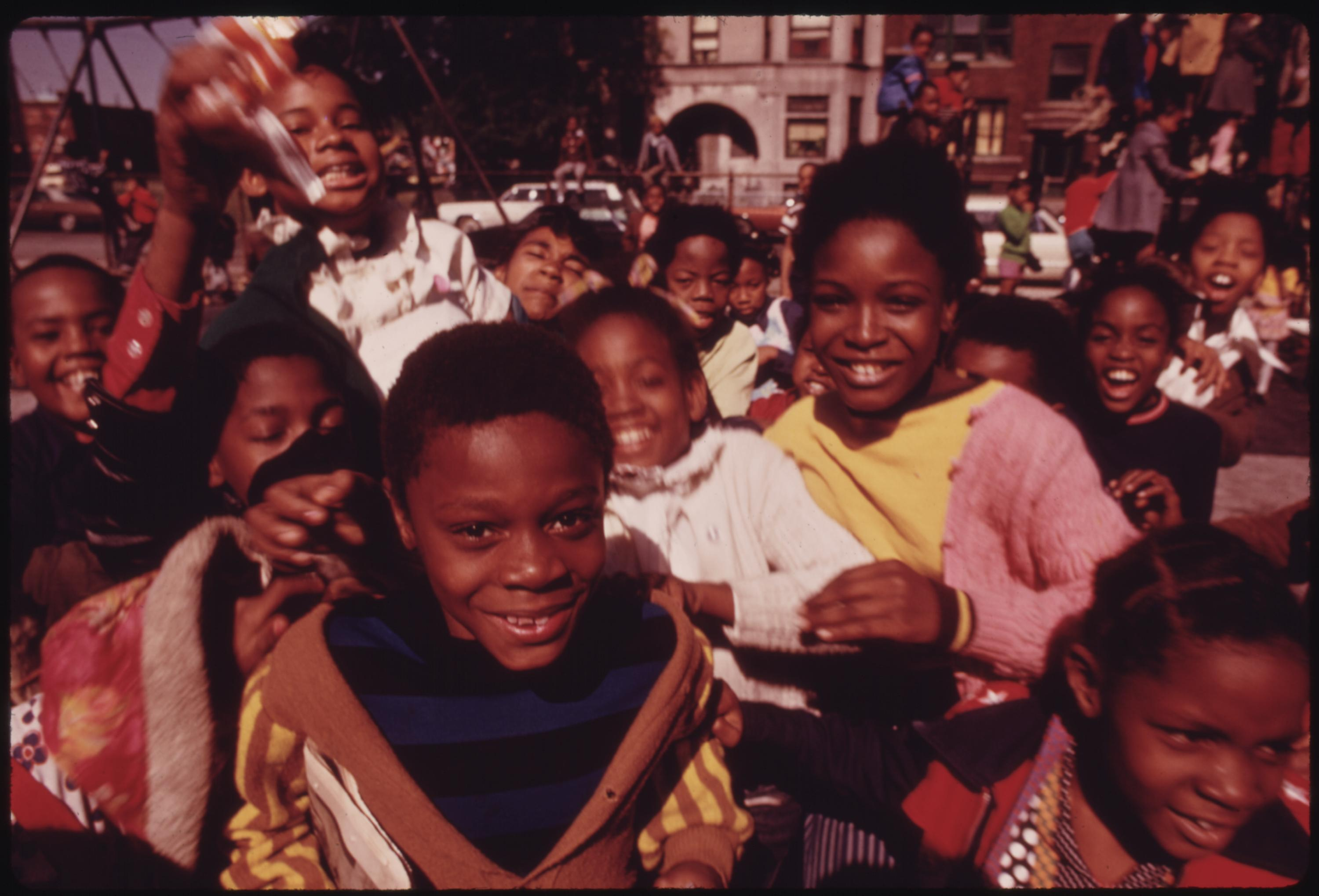 South Side Group Of Black Children In Chicago At A Playground At 40th And Drexel Boulevard, 10:1973